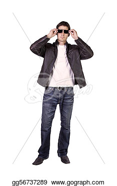 Sexy Male Model With Jacket And Sunglasses  Clipart Drawing Gg56737289