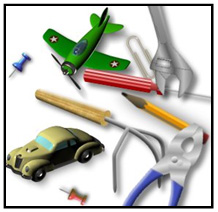 This Image Shows A Number Of Children S Toys And House Tools