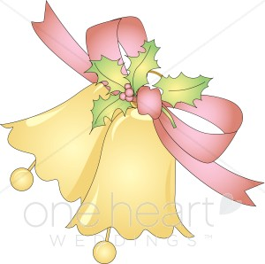 Two Golden Bells Tied With Pink Ribbon And Holly Leaves And Berries