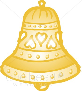 Wedding Bell 2 Ornamental Abstract Wedding Bell Charming Gold Bell