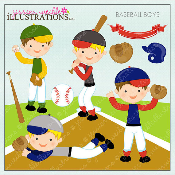 Baseball Boys Cute Digital Clipart For Card Design Scrapbooking And