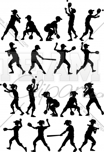 Boys Baseball Silhouettes Clipart In An Easy To Edit Vector Format