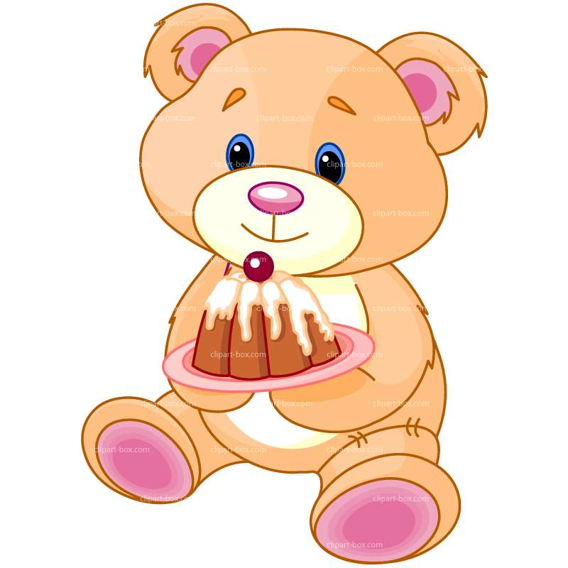 Нарисованный медведь на торте