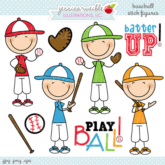 Clipart   Commercial Use Ok   Boys Baseball Stick Figure Clipart