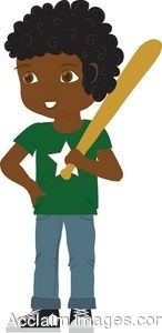 Clipart Illustration Of An African American Boy Playing Baseball