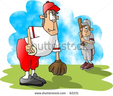 Clipart Illustration Of Two Boys Playing Baseball   62231