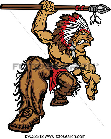 Clipart   Indian Chief Mascot With Spear  Fotosearch   Search Clip Art