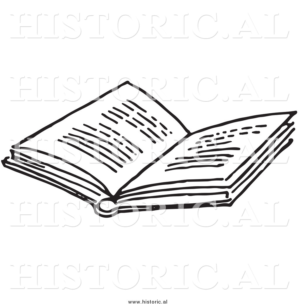 Historical Clipart Of An Opened Book With Text   Black And White