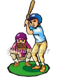 Two Boys Playing Baseball   Royalty Free Clipart Picture