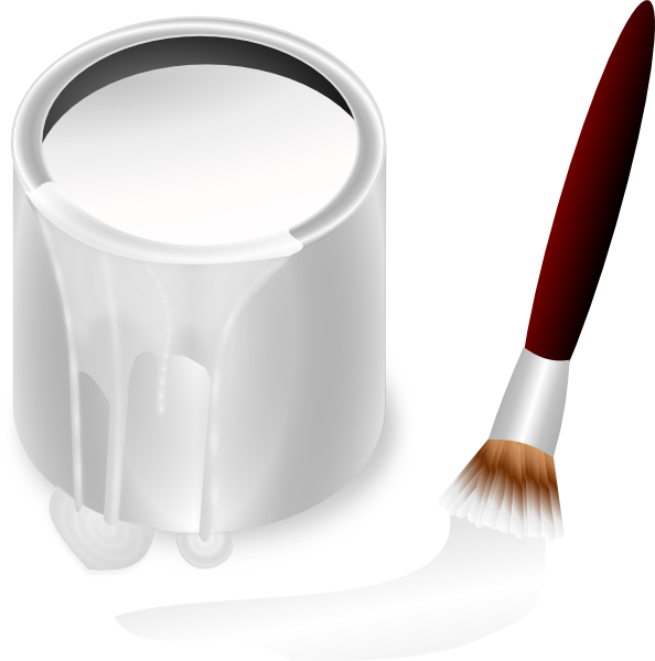 White Paint Bucket And Paint Brush Clip Art At Clker Com   Vector Clip