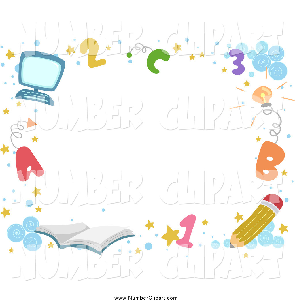 Back To School Border With Letters Numbers And Supplies Around Text