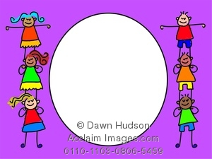 Clipart Image Of Little Children Forming A Page Border Design