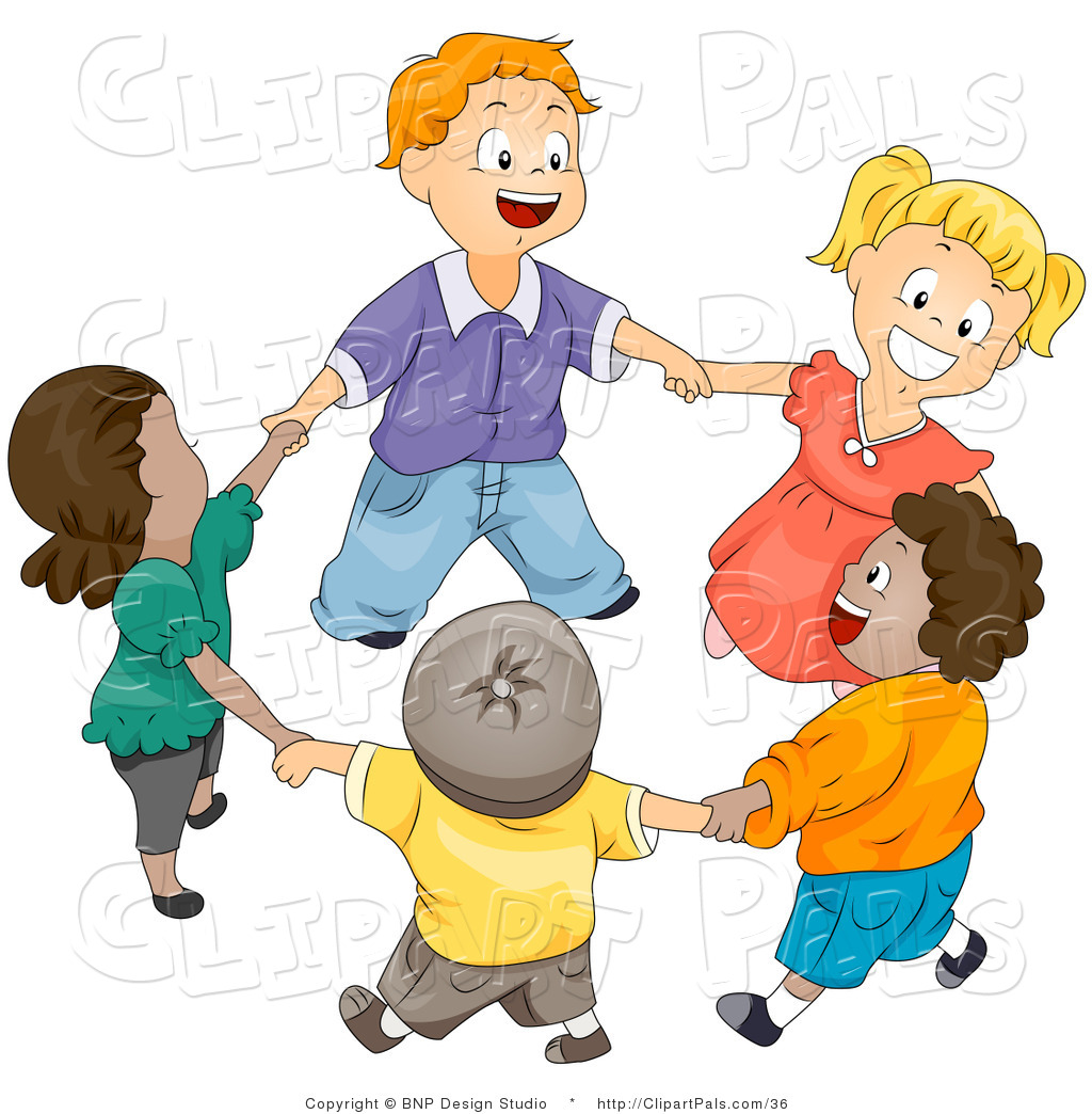 Clipart Of A Group Of Happy Diverse Kids Holding Hands And Playing