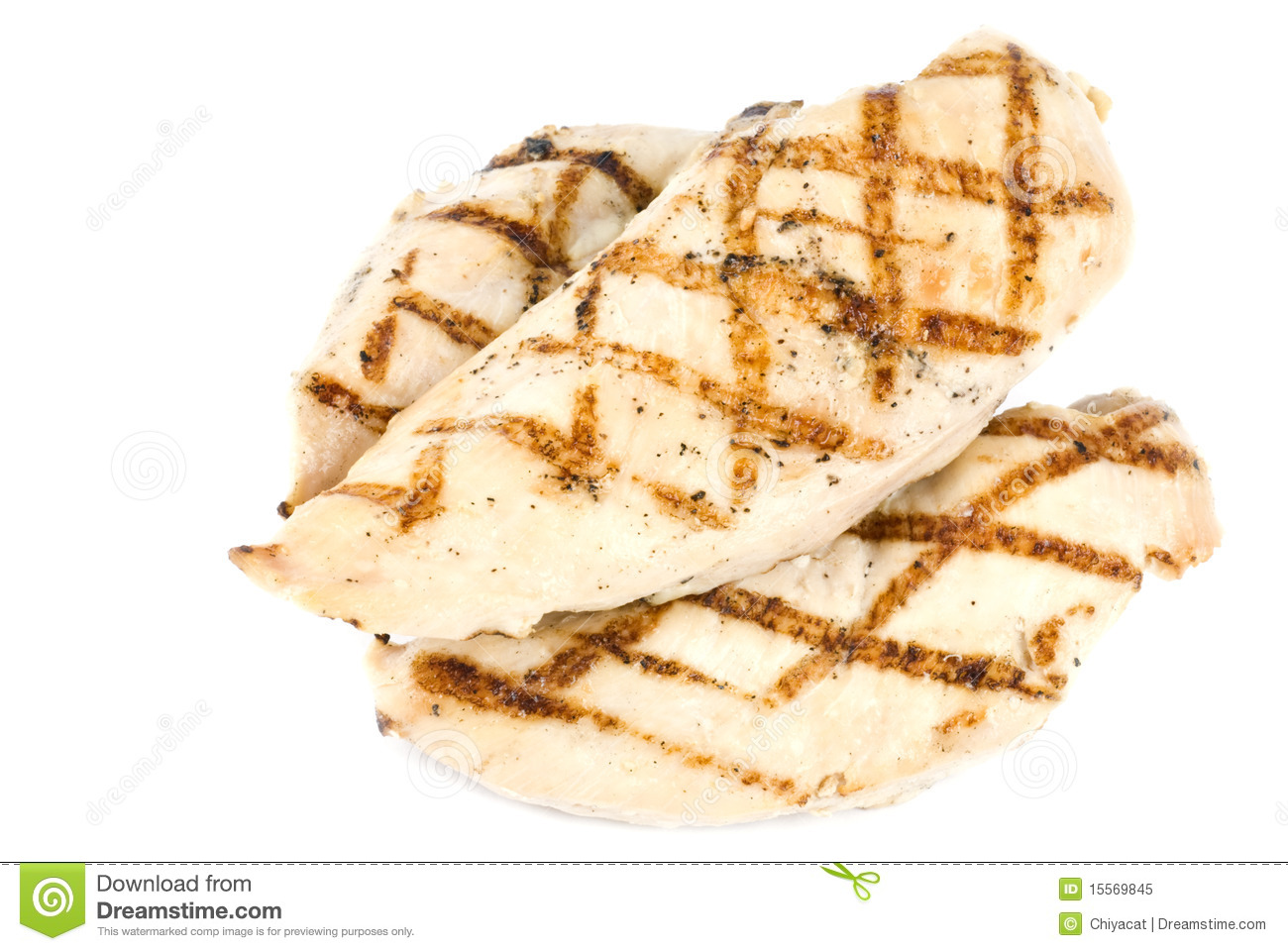 Grilled Chicken Breasts Isolated On White Royalty Free Stock Photo