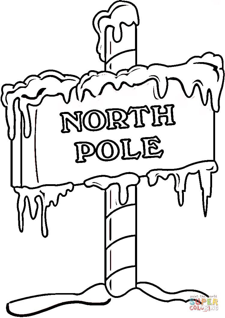 North Pole Sign Coloring Page   Supercoloring Com