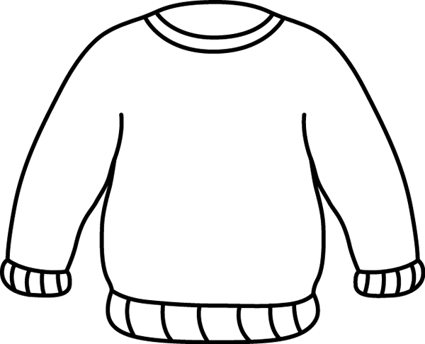 Sweater Clip Art   Black And White Outline Of A Warm Winter Sweater