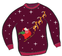 This Majestic Piece Of Printable Sweater Clipart Shows Santa Racing