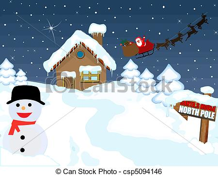 Vector   Santa S House At North Pole   Stock Illustration Royalty