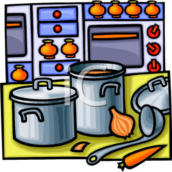 0811 1716 0107 Pots And Pans On A Kitchen Counter Clipart Image Jpg