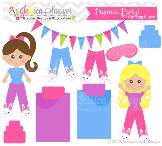 Clearance Pajama Party Clipart Sleepover By Jessicasawyerdesign  1 95