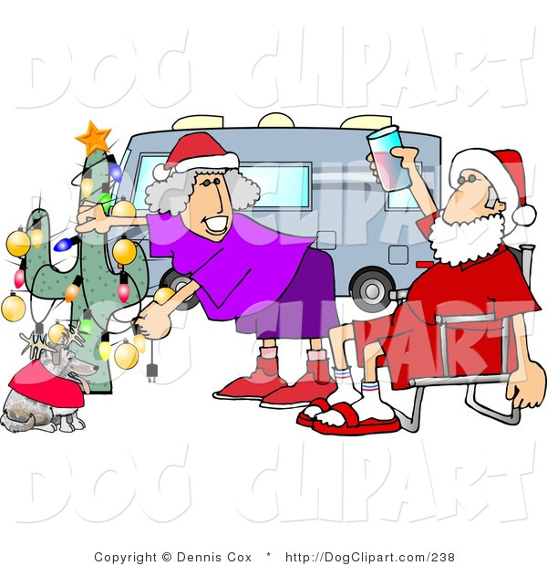 Clip Art Of A Redneck Mr  And Mrs  Claus Celebrating Christmas On The