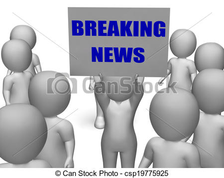 Clip Art Of Breaking News Board Character Meaning Latest Announcements
