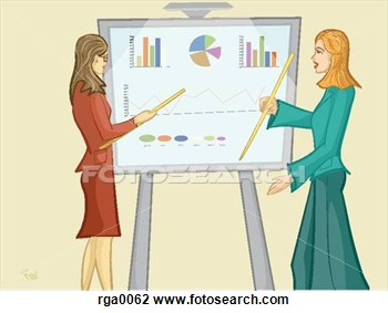 Clip Art Of Women Pointing At A Sales Chart Rga0062   Search Clipart