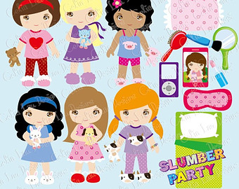 Clipart Cute Girl Night Sleepover Clip Art   Girls Pajamas Birthday
