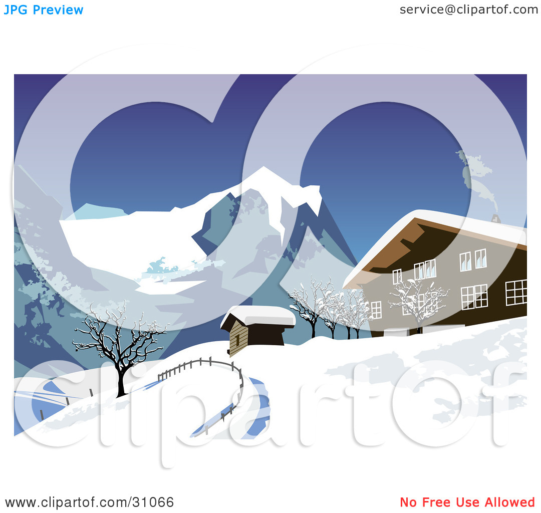 Clipart Illustration Of Smoke Rising From A Chalet In The Snowy Swiss