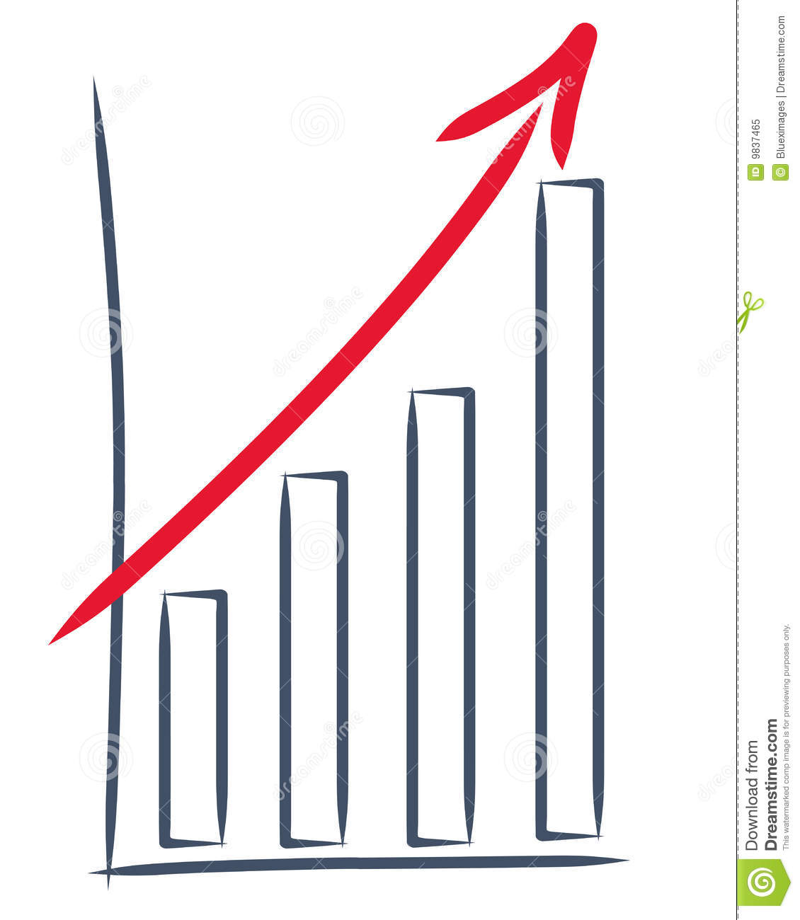 Drawing Of A Sales Increase And Upward Trend