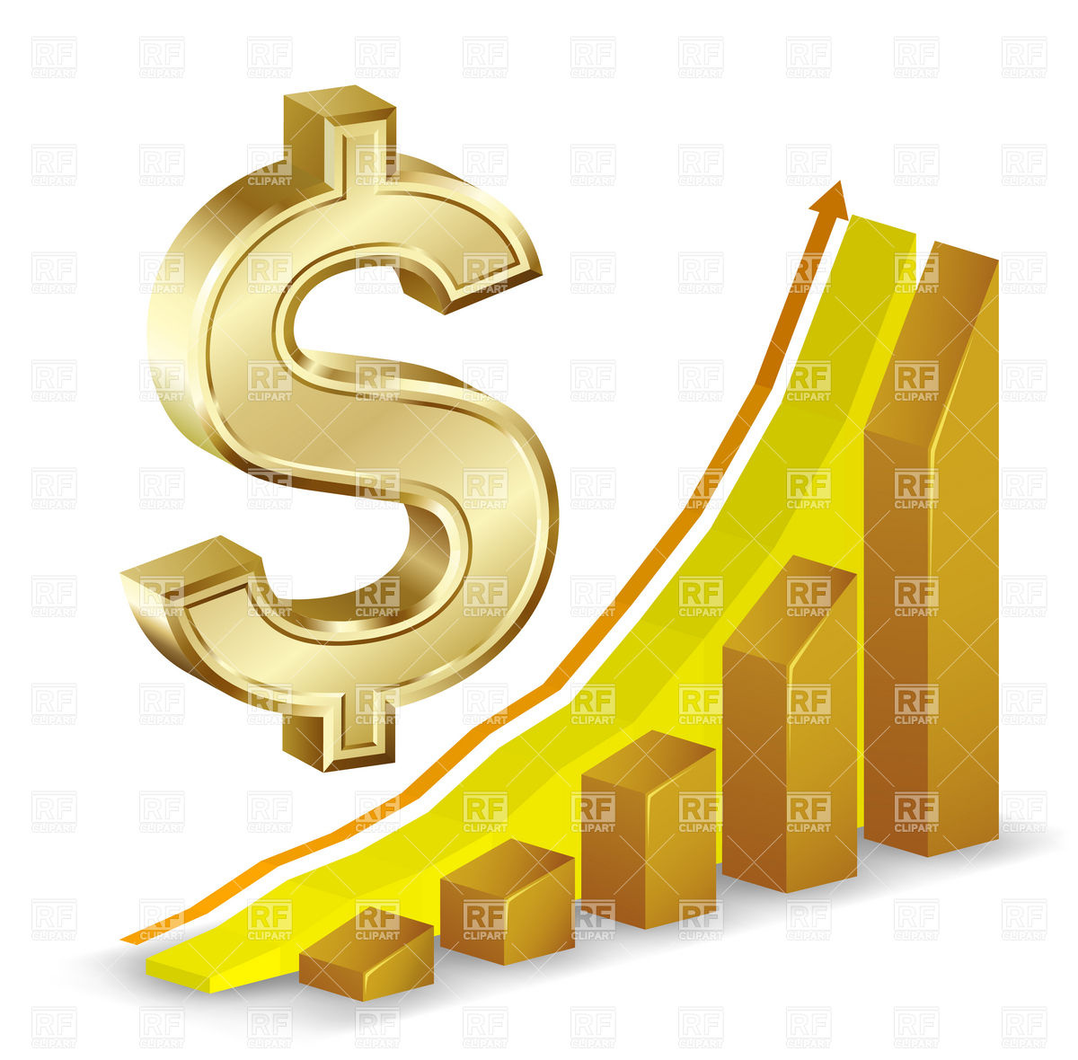 Growth Chart And Golden Dollar Sign 5642 Business Finance Download