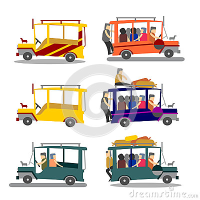 Illustration Of Philippine Jeepney  Philippine Jeep Loaded With People