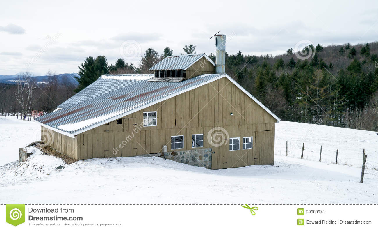 Large Sugaring House For Boiling Maple Sap Down To Maple Syrup On A