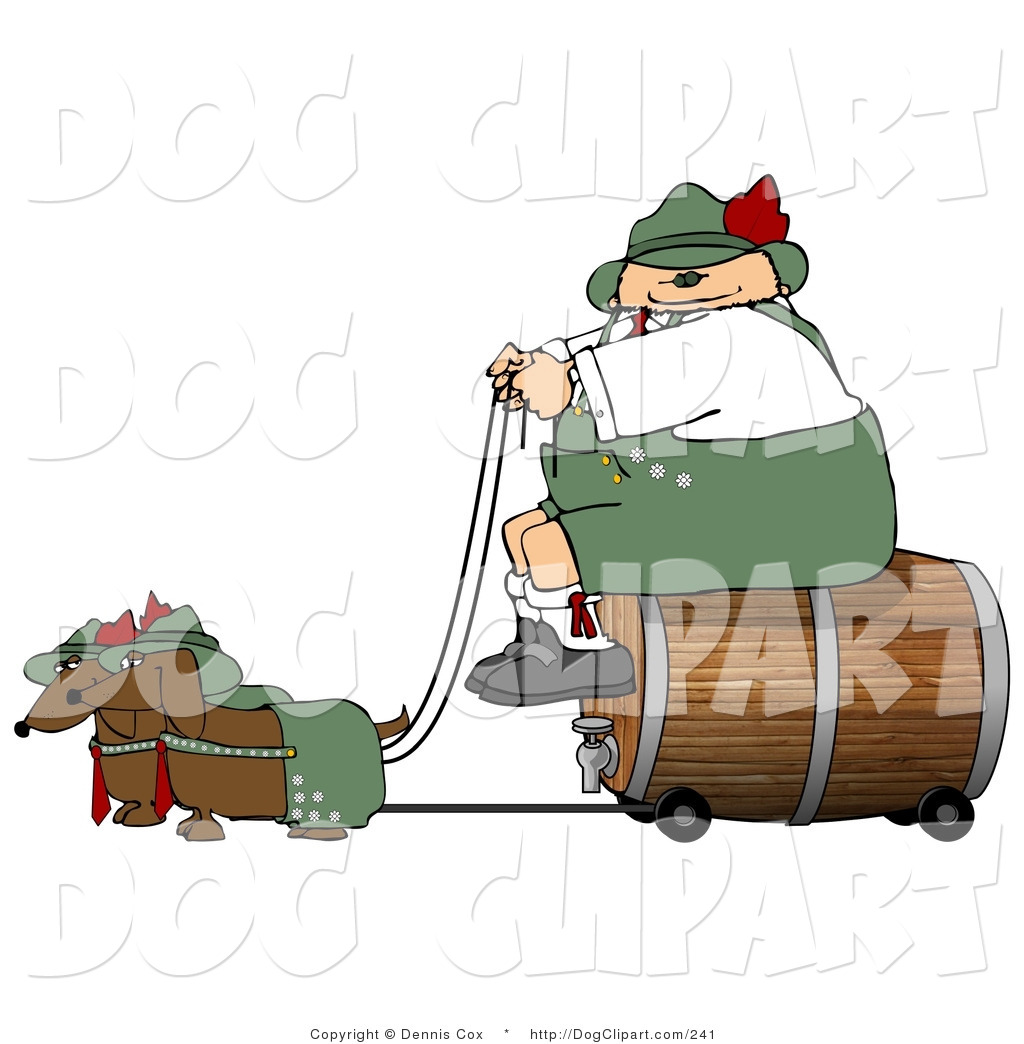 Larger Preview  Clip Art Of A Smiling German Man Transporting A Wooden
