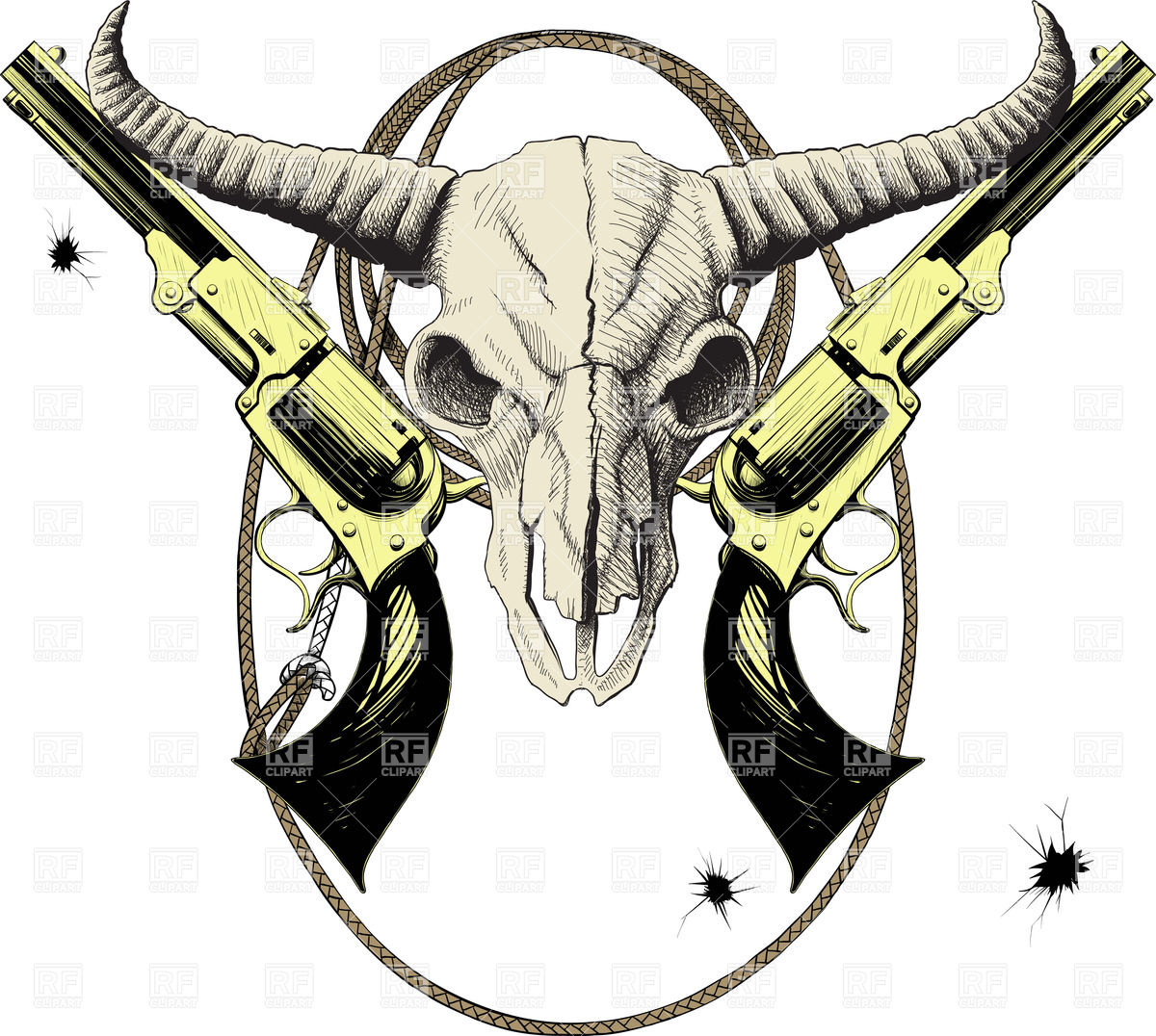 Mascot Of The Wild West With Skull Bison And Revolvers In Lasso Frame