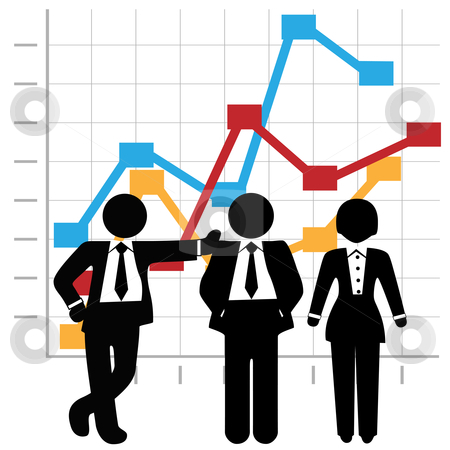 People Sales Team And Profit Growth Graph Chart Stock Vector Clipart