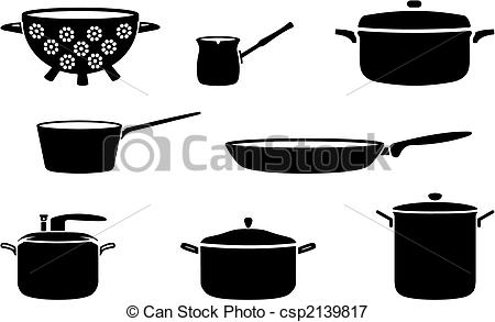 Pots And Pans Black And White Silhouettes Csp2139817   Search Clipart