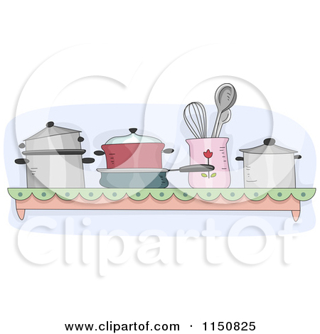 Pots And Pans In A Kitchen   Royalty Free Vector Clipart By Bnp Design