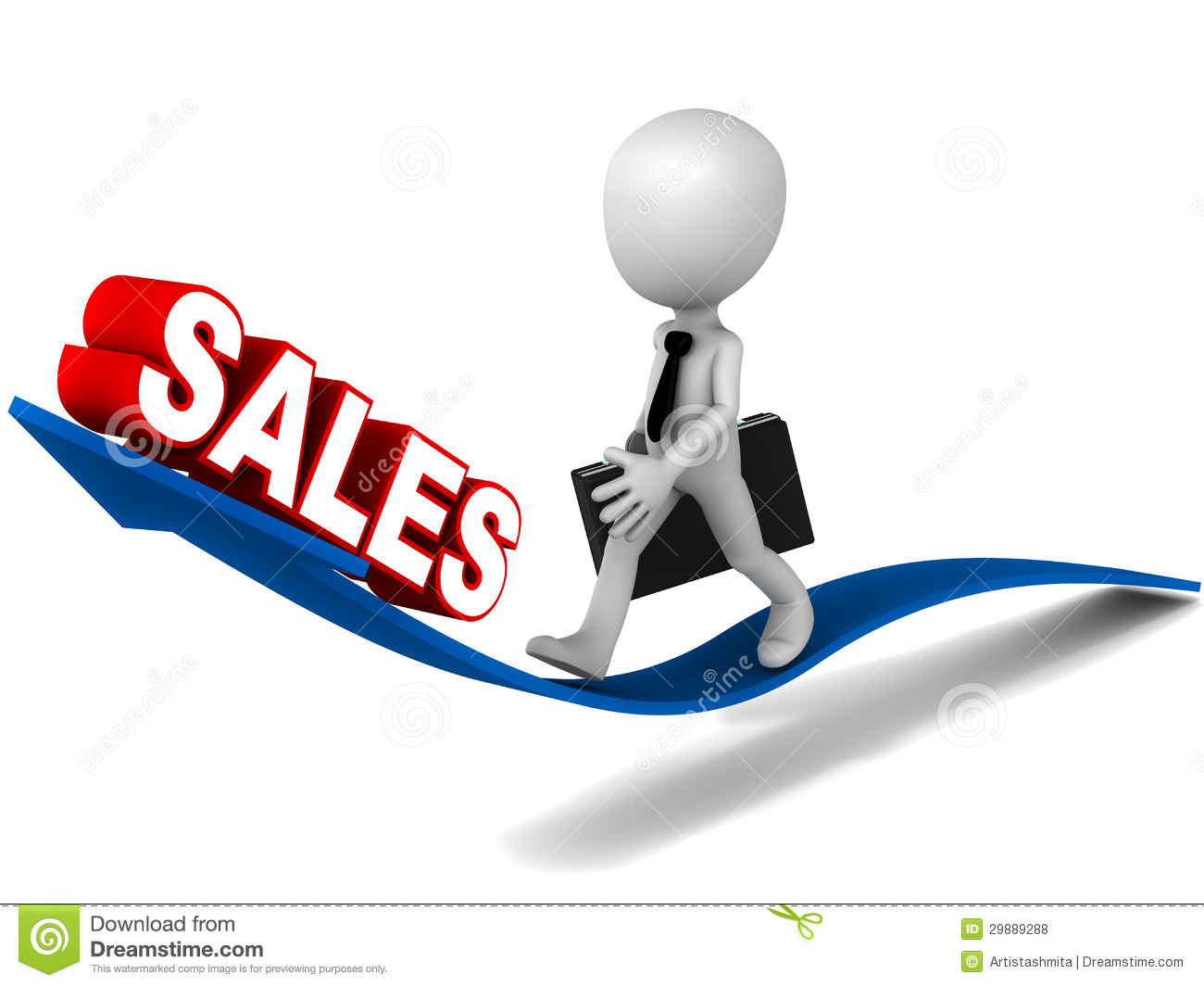 Rising Sales Concept D Little Businessman Walking Arrow Going Up Sales