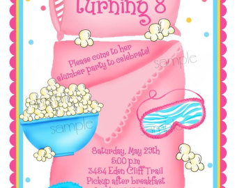Slumber Party Personalized Invitations Pajama Party Birthday Party