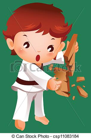 Vector Of Boy Breaking A Board Using Karate Csp11083184   Search Clip