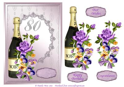 Champagne And Flowers 80th Birthday Decoupage Card  Comes W By Pamela