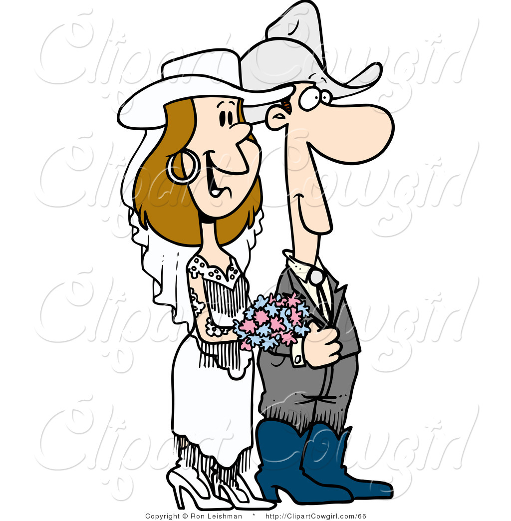 Clipart Of A Cowboy Wedding Couple By Ron Leishman    66