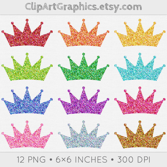 Digital Glitter Crown Clip Art Princess Crown Clipart Sparkly Digital