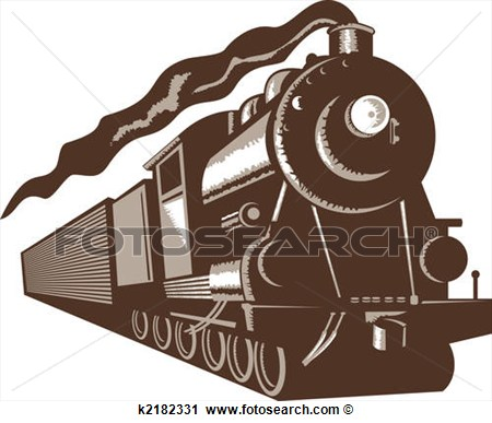 Illustration Of A Euro Brown Steam Train Front View Isolated On White
