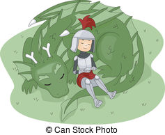 Knight And Dragon   Illustration Of A Knight Leaning Against