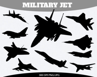 Off Military Jet Fighter Aircraft Instant Download Silhouette Clipart