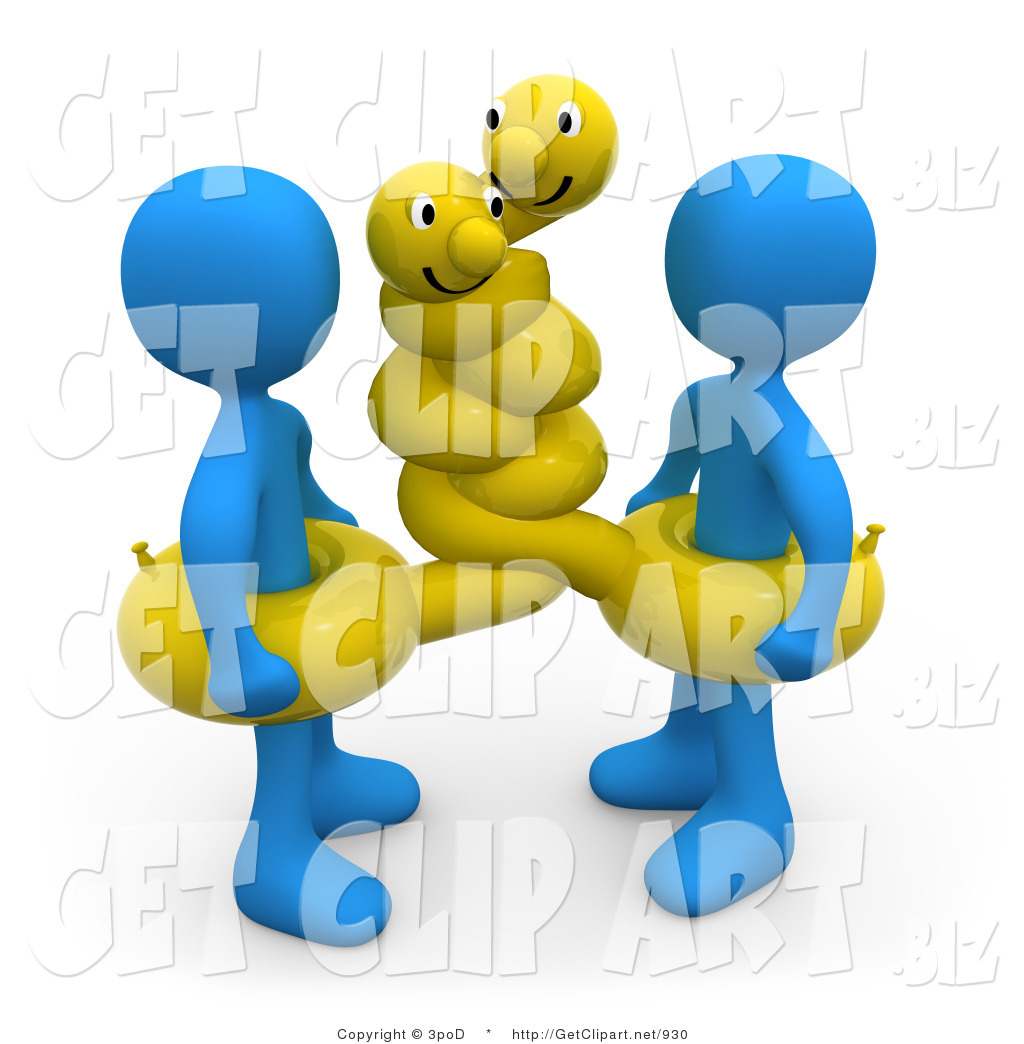 Two Blue Men Wearing Hugging Yellow Inner Tubes With Faces Around