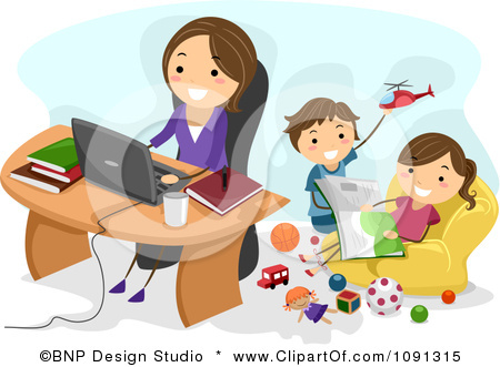 1091315 Clipart Happy Mom Working At Home As Her Kids Play Behind Her