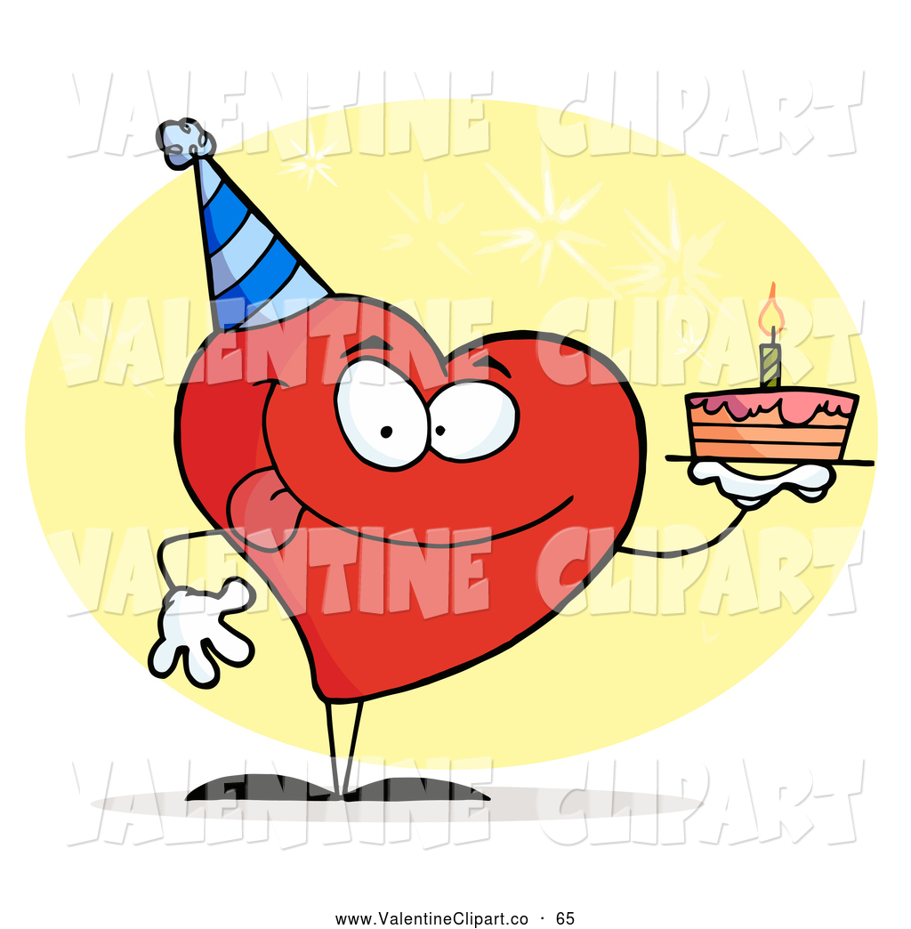 Clip Art Of A Red Heart Wearing A Hat And Holding A Birthday Cake